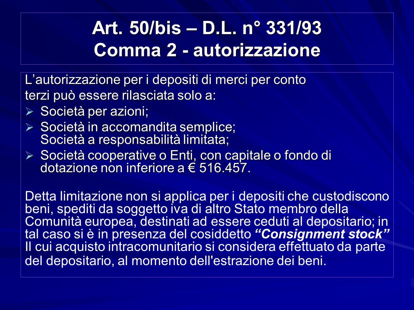 Art. 50/bis – D.L. n° 331/93 Comma 2 - autorizzazione Lautorizzazione per i depositi di merci per conto terzi può essere rilasciata solo a: Società pe