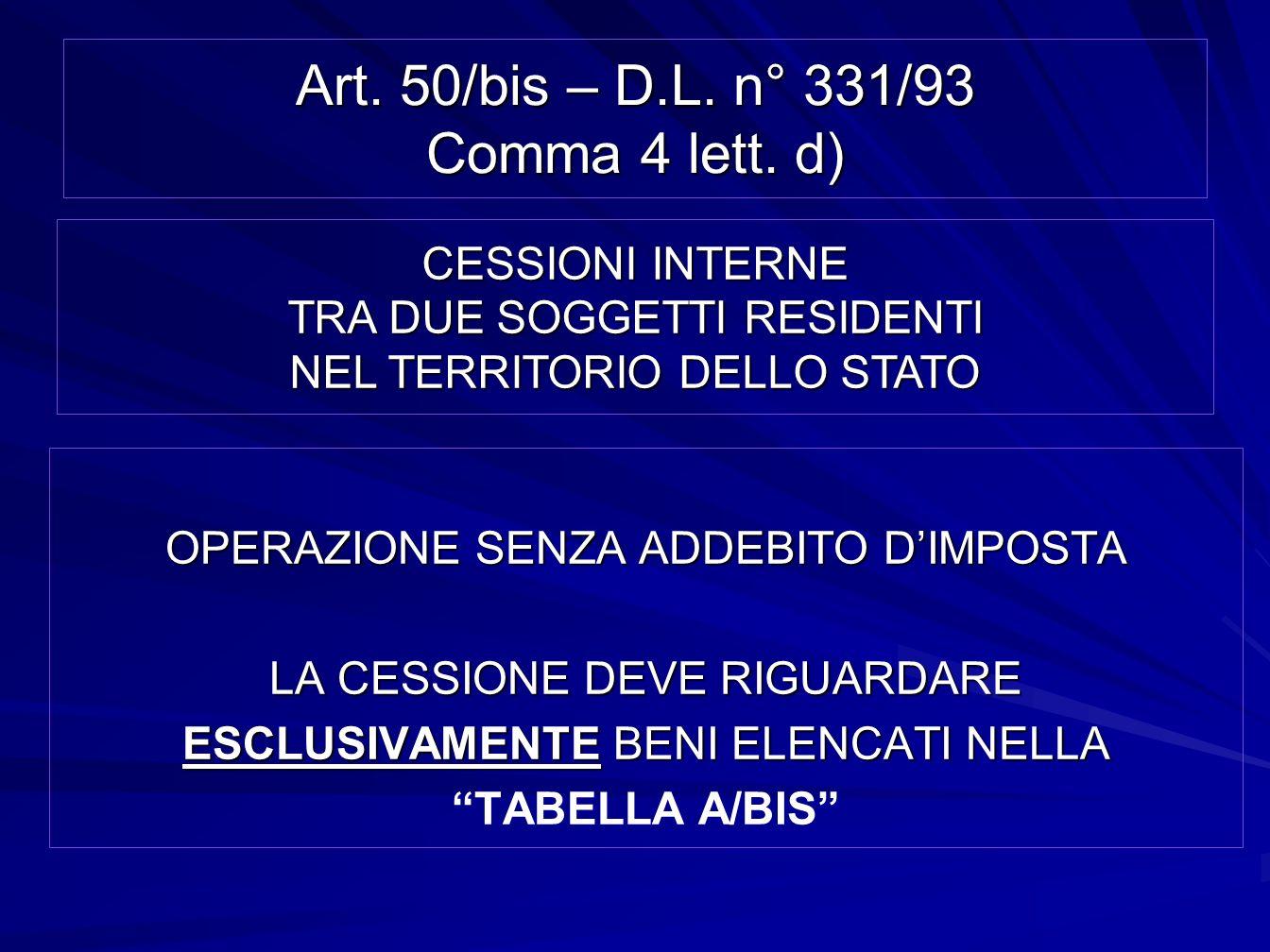 Art. 50/bis – D.L. n° 331/93 Comma 4 lett. d) OPERAZIONE SENZA ADDEBITO DIMPOSTA LA CESSIONE DEVE RIGUARDARE ESCLUSIVAMENTE BENI ELENCATI NELLA TABELL