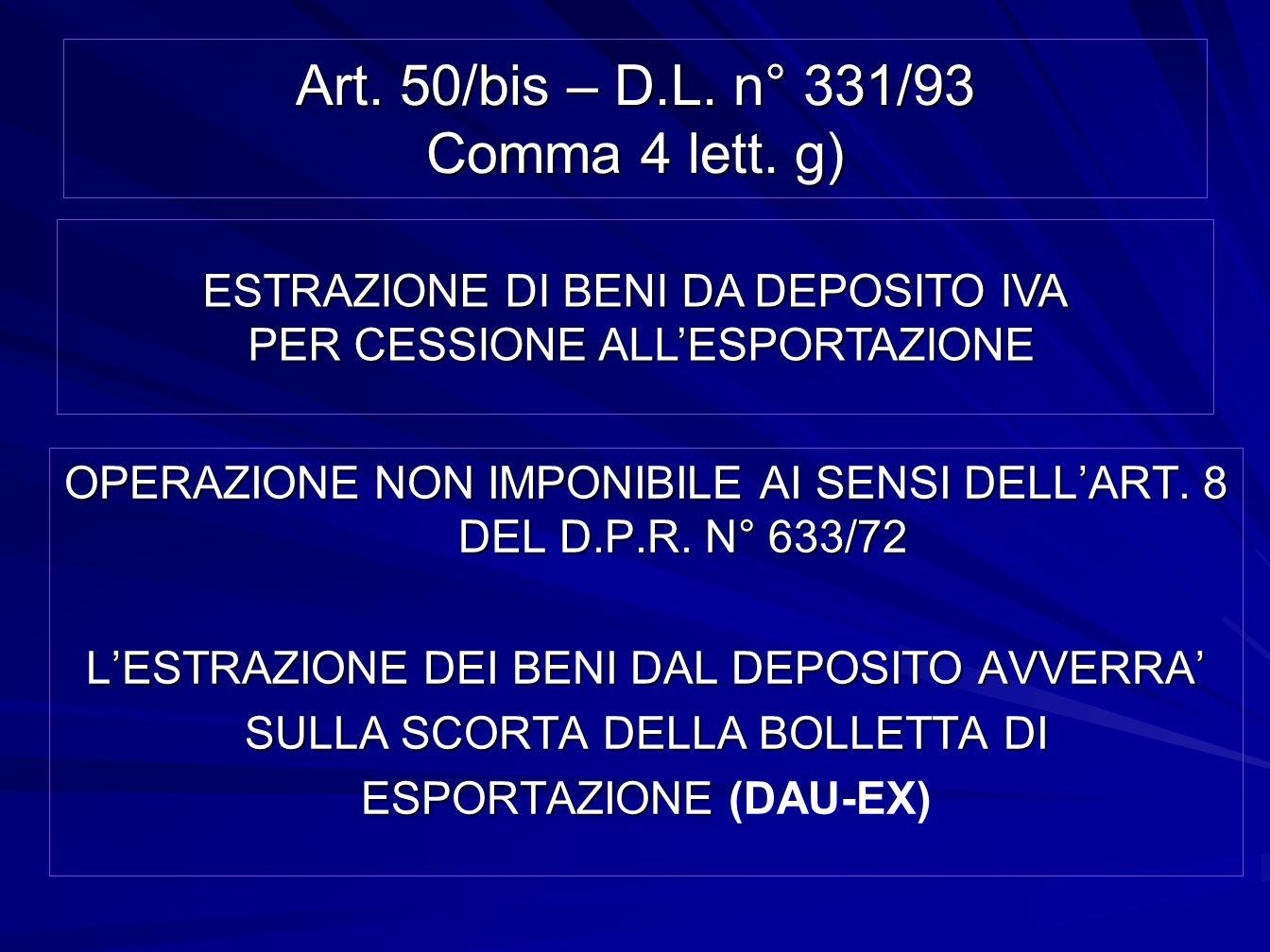 Art. 50/bis – D.L. n° 331/93 Comma 4 lett. g) OPERAZIONE NON IMPONIBILE AI SENSI DELLART. 8 DEL D.P.R. N° 633/72 LESTRAZIONE DEI BENI DAL DEPOSITO AVV