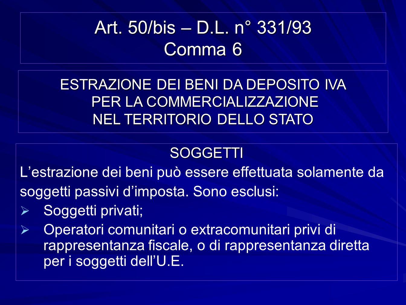 Art. 50/bis – D.L. n° 331/93 Comma 6 SOGGETTI Lestrazione dei beni può essere effettuata solamente da soggetti passivi dimposta. Sono esclusi: Soggett