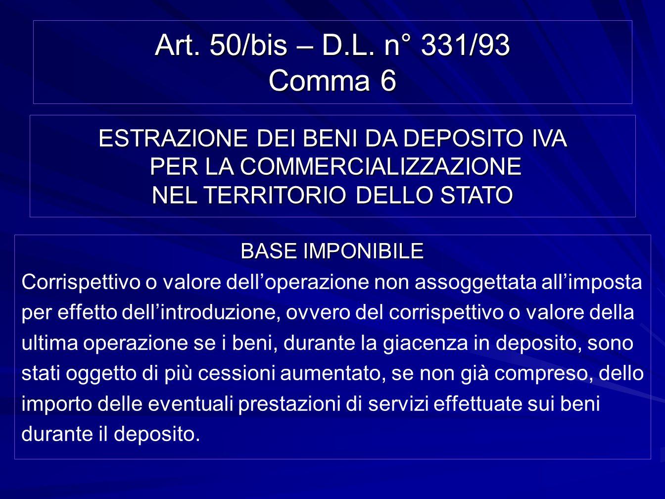 Art. 50/bis – D.L. n° 331/93 Comma 6 BASE IMPONIBILE Corrispettivo o valore delloperazione non assoggettata allimposta per effetto dellintroduzione, o