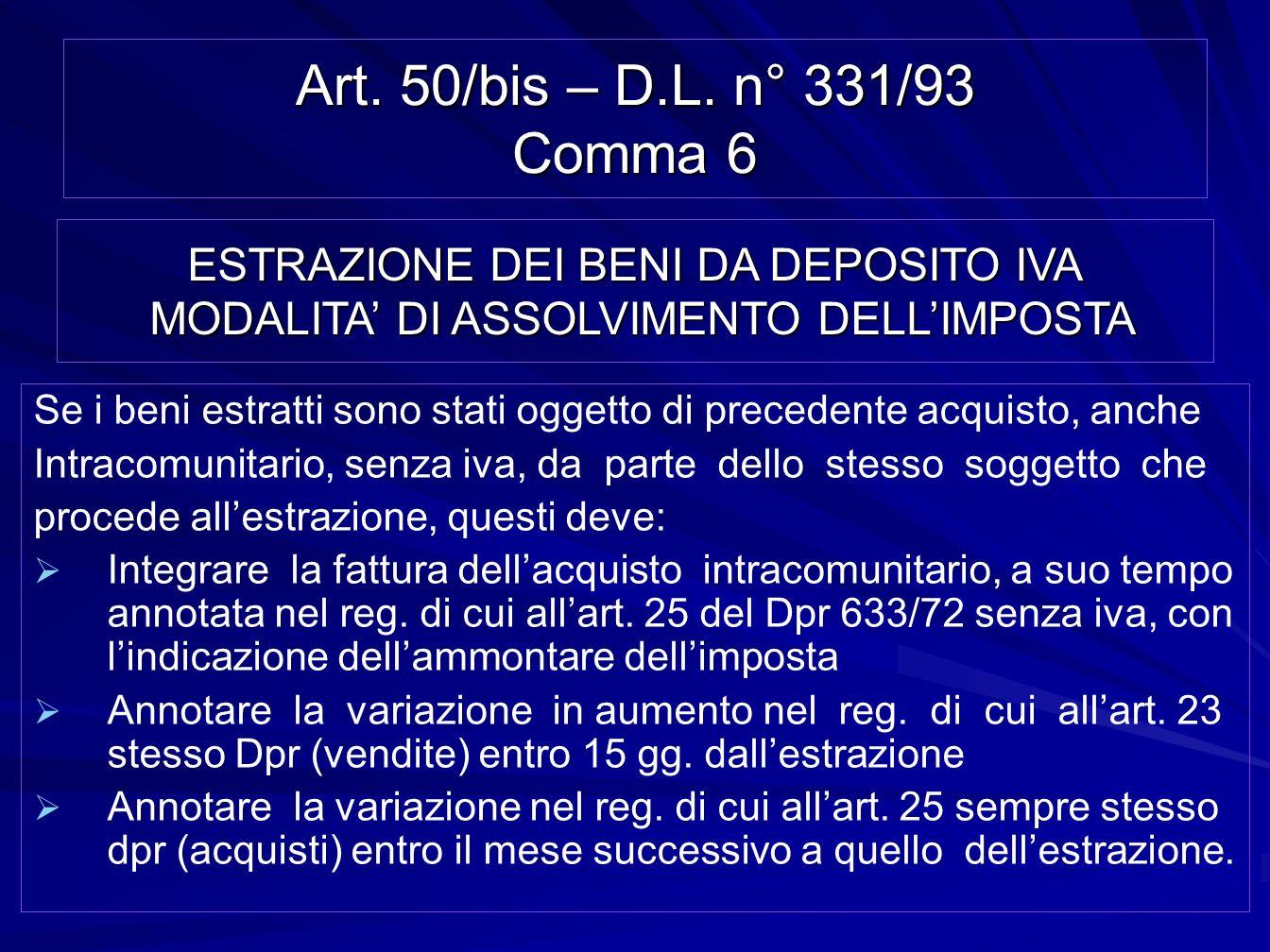 Art. 50/bis – D.L. n° 331/93 Comma 6 Se i beni estratti sono stati oggetto di precedente acquisto, anche Intracomunitario, senza iva, da parte dello s