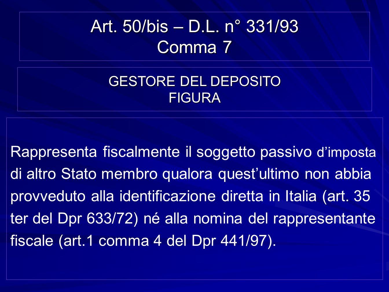 Art. 50/bis – D.L. n° 331/93 Comma 7 Rappresenta fiscalmente il soggetto passivo dimposta di altro Stato membro qualora questultimo non abbia provvedu