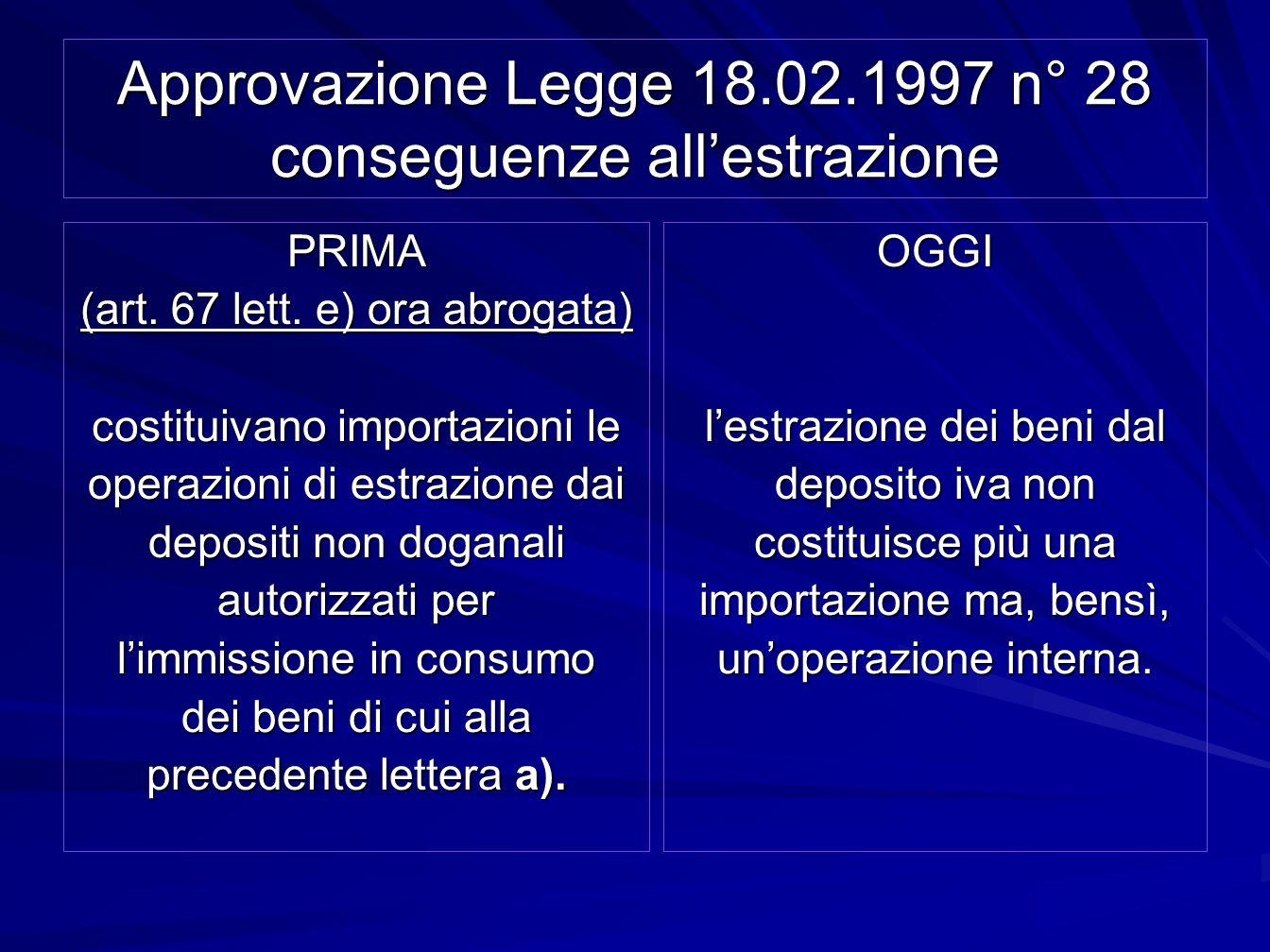 Approvazione Legge 18.02.1997 n° 28 conseguenze allestrazione PRIMA (art. 67 lett. e) ora abrogata) costituivano importazioni le operazioni di estrazi