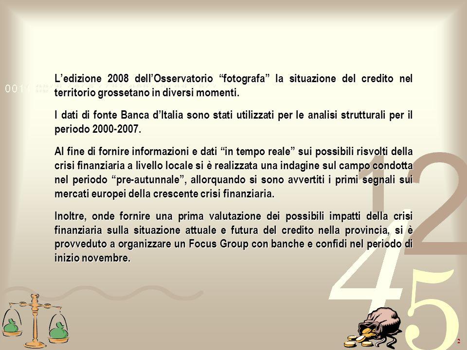 2 Ledizione 2008 dellOsservatorio fotografa la situazione del credito nel territorio grossetano in diversi momenti. I dati di fonte Banca dItalia sono