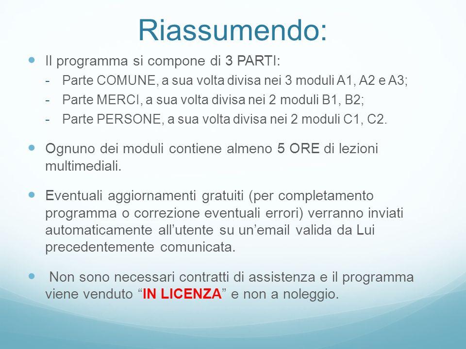 Riassumendo: Il programma si compone di 3 PARTI: - Parte COMUNE, a sua volta divisa nei 3 moduli A1, A2 e A3; - Parte MERCI, a sua volta divisa nei 2