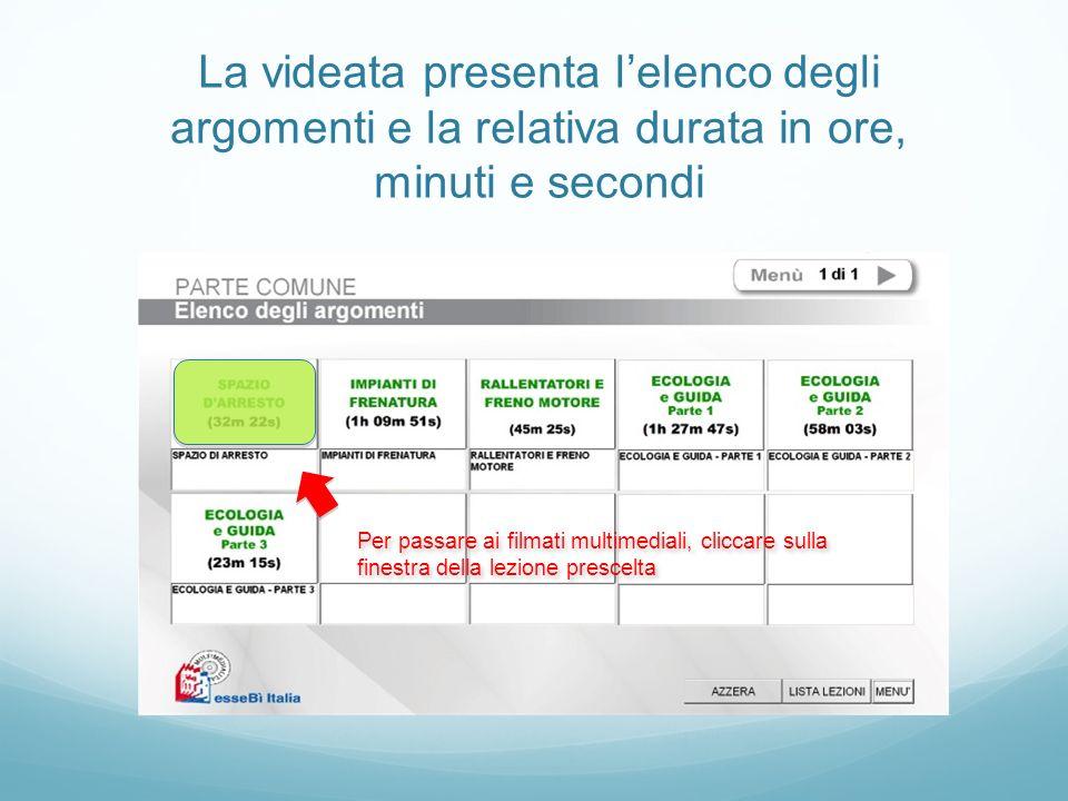 La videata presenta lelenco degli argomenti e la relativa durata in ore, minuti e secondi Per passare ai filmati multimediali, cliccare sulla finestra