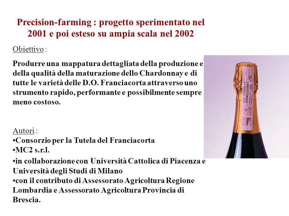 Precision-farming : progetto sperimentato nel 2001 e poi esteso su ampia scala nel 2002 Obiettivo : Produrre una mappatura dettagliata della produzion