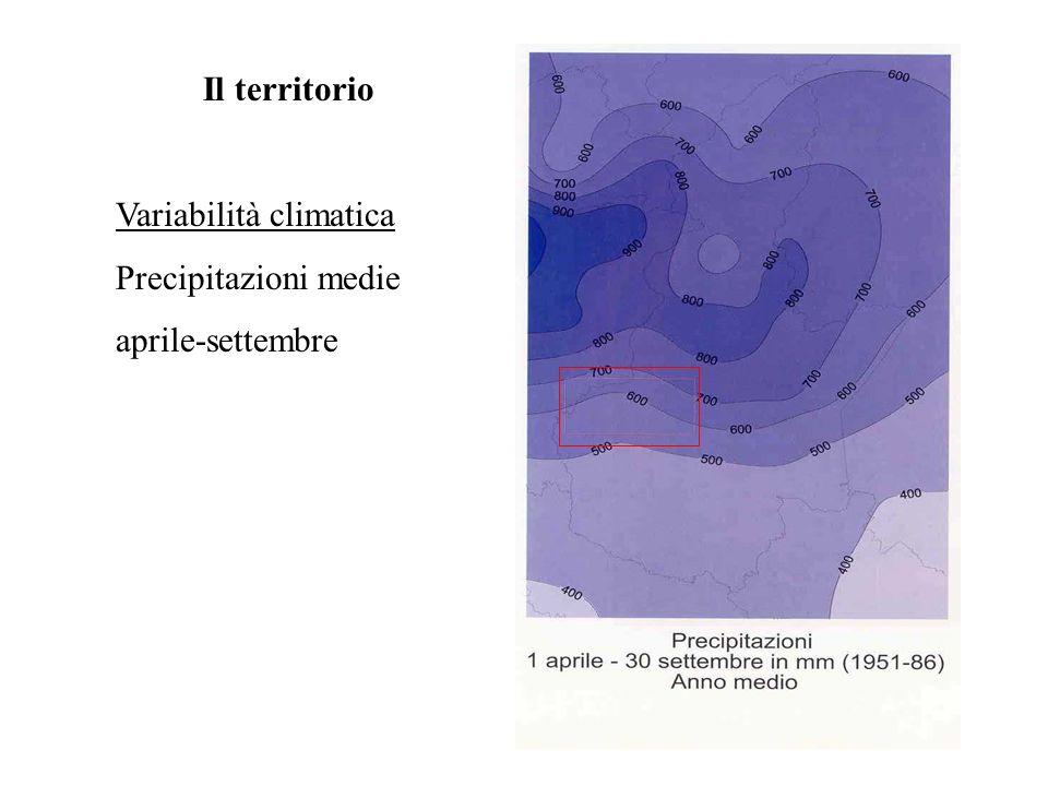 Il territorio Variabilità climatica Precipitazioni medie aprile-settembre