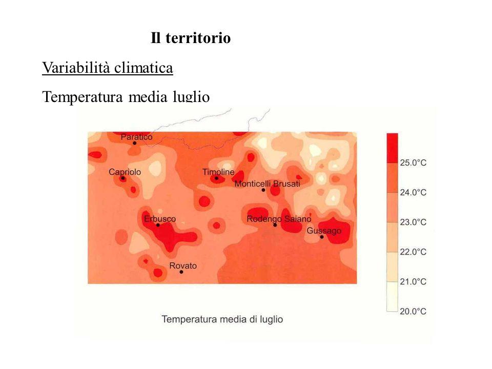 Il territorio Variabilità climatica Temperatura media luglio