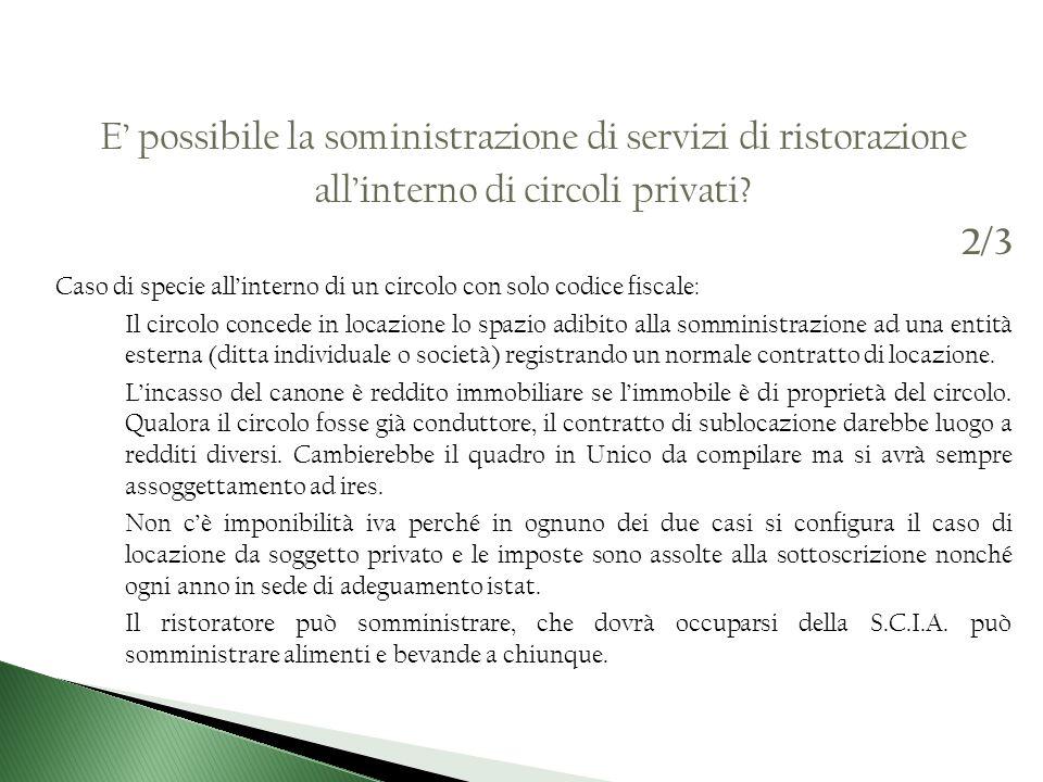 E possibile la somministrazione di servizi di ristorazione allinterno di circoli privati.