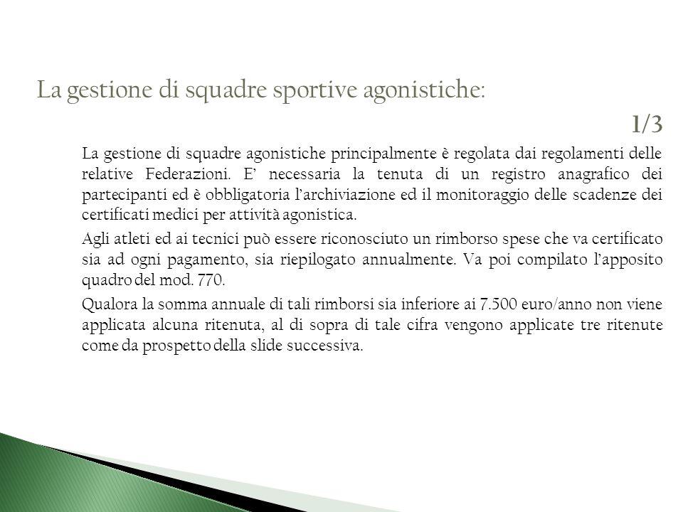 La gestione di squadre sportive agonistiche: 1/3 La gestione di squadre agonistiche principalmente è regolata dai regolamenti delle relative Federazio