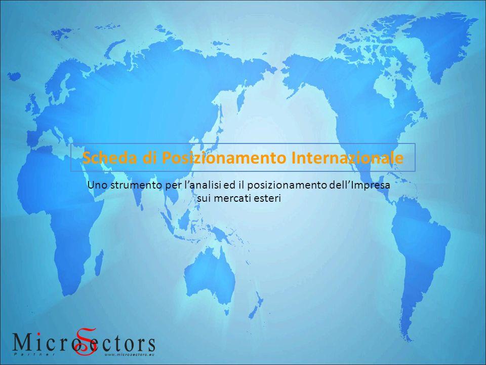 Uno strumento per lanalisi ed il posizionamento dellImpresa sui mercati esteri Scheda di Posizionamento Internazionale
