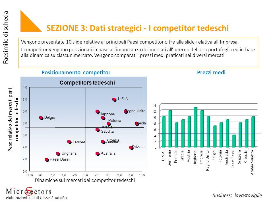 Vengono presentate 10 slide relative ai principali Paesi competitor oltre alla slide relativa allImpresa. I competitor vengono posizionati in base all