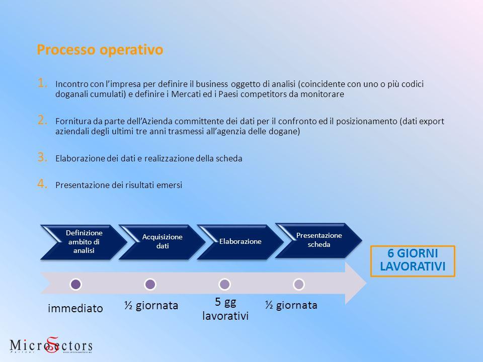 6 GIORNI LAVORATIVI Processo operativo 1. Incontro con limpresa per definire il business oggetto di analisi (coincidente con uno o più codici doganali