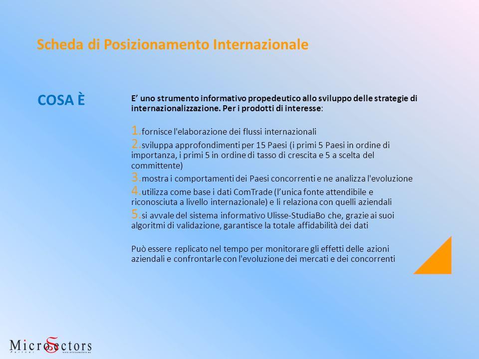 E uno strumento informativo propedeutico allo sviluppo delle strategie di internazionalizzazione. Per i prodotti di interesse: 1. fornisce l'elaborazi