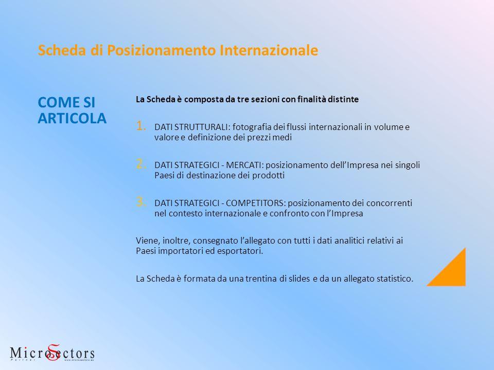 COME SI ARTICOLA La Scheda è composta da tre sezioni con finalità distinte 1. DATI STRUTTURALI: fotografia dei flussi internazionali in volume e valor