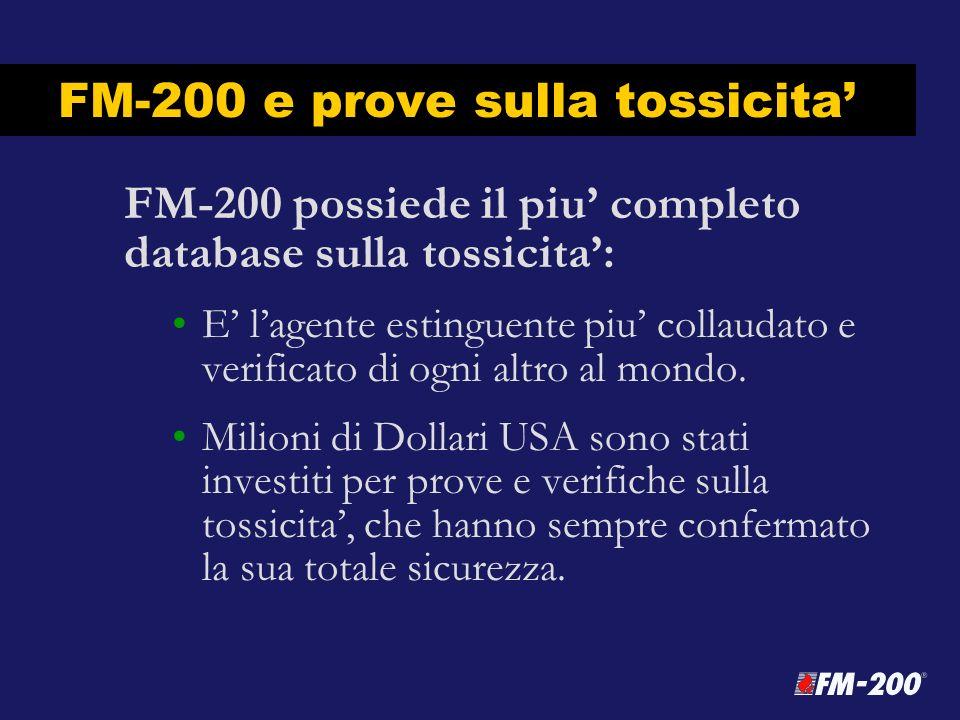FM-200 e prove sulla tossicita FM-200 possiede il piu completo database sulla tossicita: E lagente estinguente piu collaudato e verificato di ogni alt
