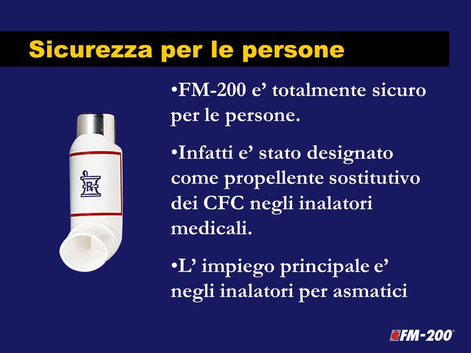Sicurezza per le persone FM-200 e totalmente sicuro per le persone. Infatti e stato designato come propellente sostitutivo dei CFC negli inalatori med