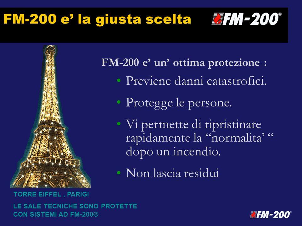 FM-200 e la giusta scelta FM-200 e un ottima protezione : Previene danni catastrofici. Protegge le persone. Vi permette di ripristinare rapidamente la