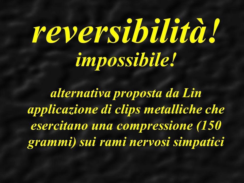 reversibilità! impossibile! alternativa proposta da Lin applicazione di clips metalliche che esercitano una compressione (150 grammi) sui rami nervosi