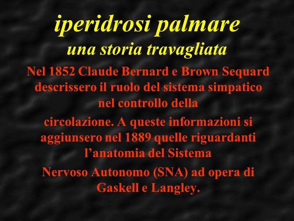 iperidrosi palmare una storia travagliata Nel 1852 Claude Bernard e Brown Sequard descrissero il ruolo del sistema simpatico nel controllo della circo