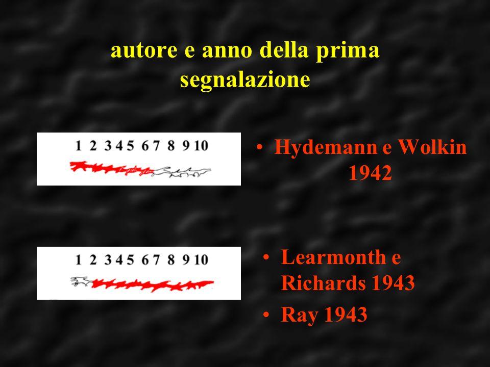autore e anno della prima segnalazione Hydemann e Wolkin 1942 Learmonth e Richards 1943 Ray 1943