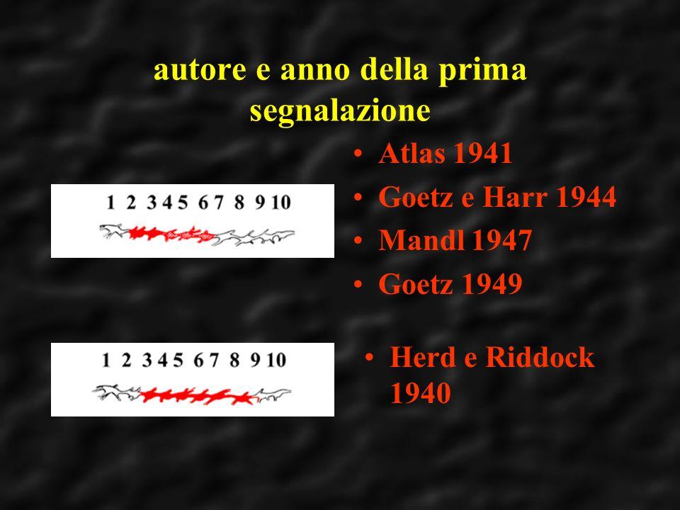 autore e anno della prima segnalazione Atlas 1941 Goetz e Harr 1944 Mandl 1947 Goetz 1949 Herd e Riddock 1940
