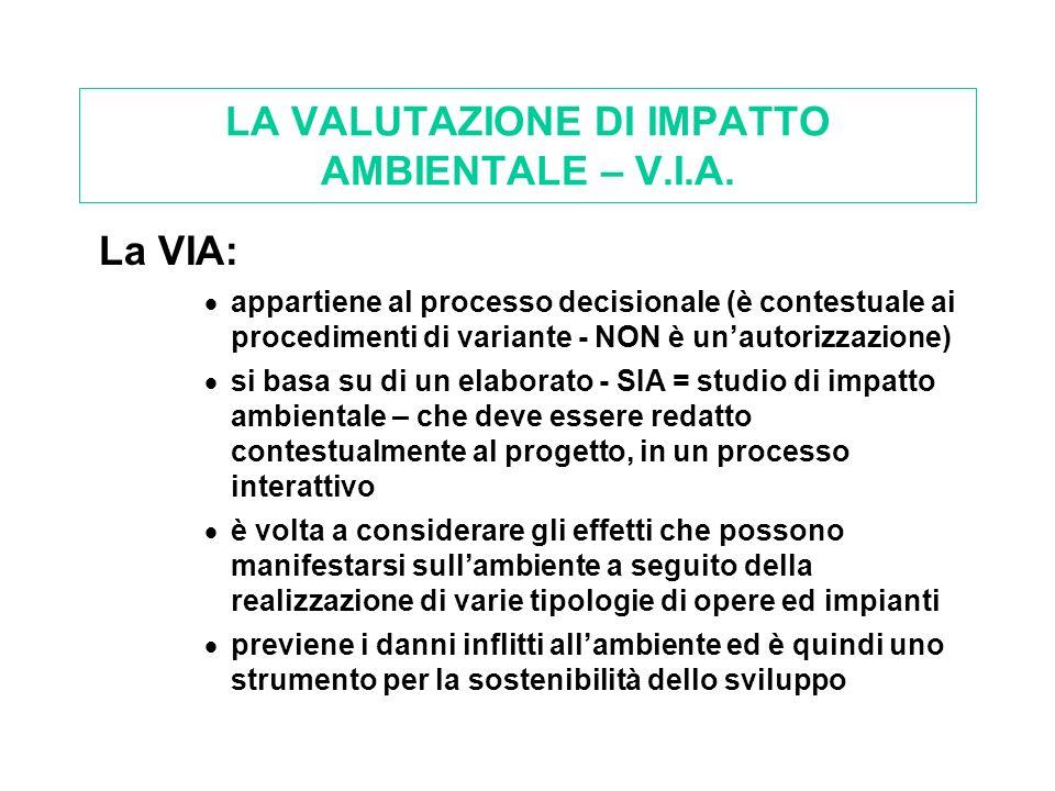 LA VALUTAZIONE DI IMPATTO AMBIENTALE – V.I.A. La VIA: appartiene al processo decisionale (è contestuale ai procedimenti di variante - NON è unautorizz