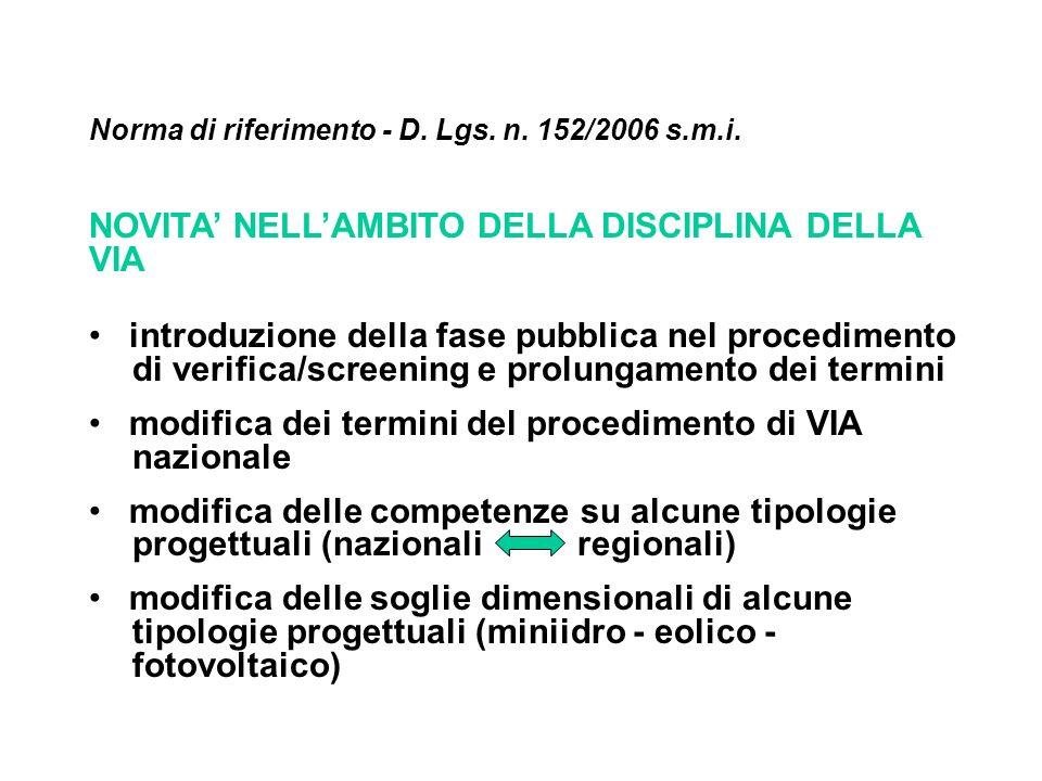 Norma di riferimento - D. Lgs. n. 152/2006 s.m.i. NOVITA NELLAMBITO DELLA DISCIPLINA DELLA VIA introduzione della fase pubblica nel procedimento di ve