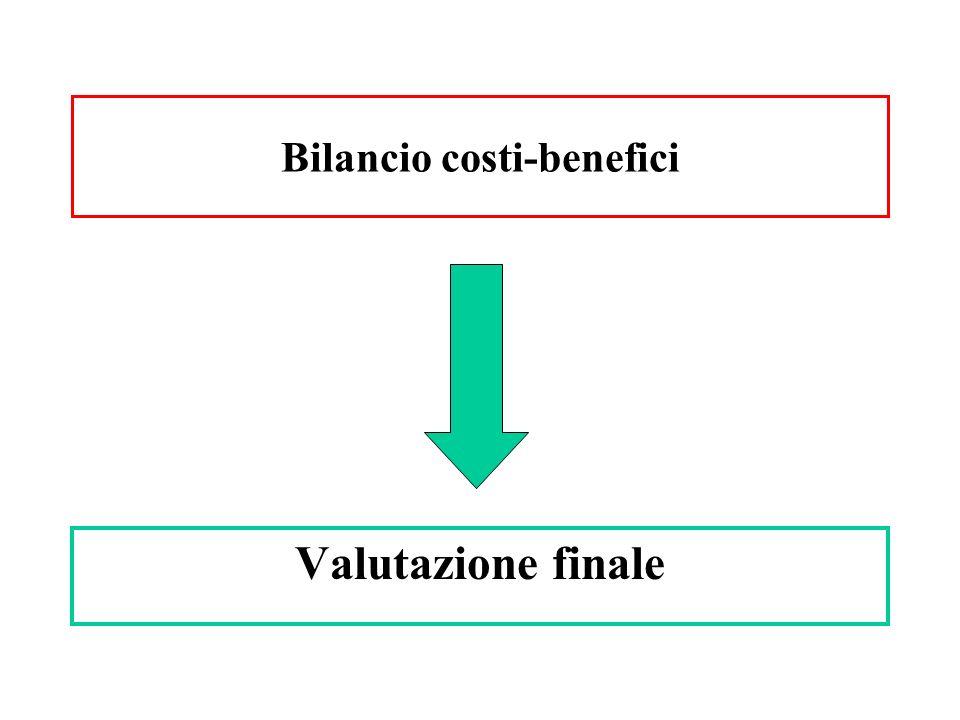 Valutazione finale Bilancio costi-benefici