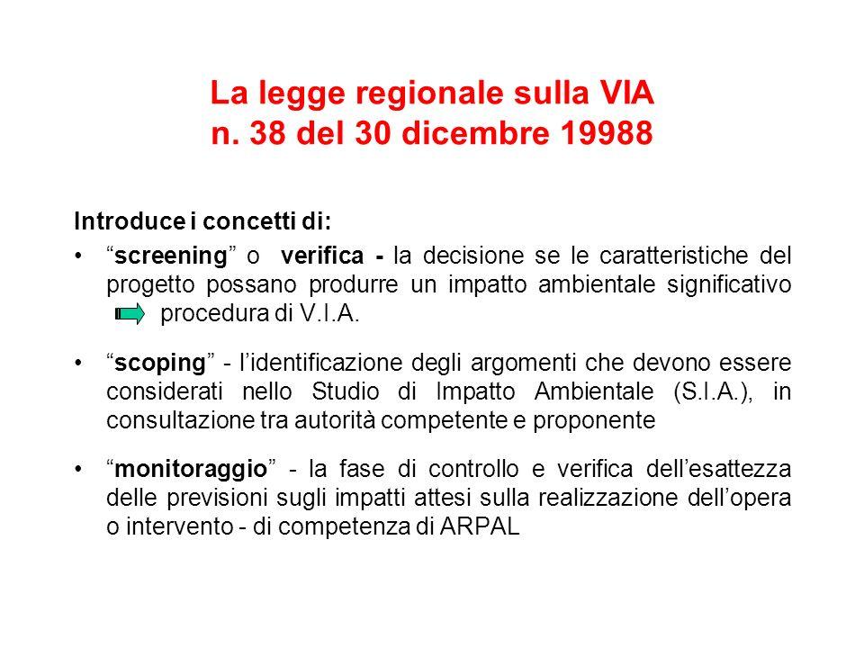 La legge regionale sulla VIA n. 38 del 30 dicembre 19988 Introduce i concetti di: screening o verifica - la decisione se le caratteristiche del proget