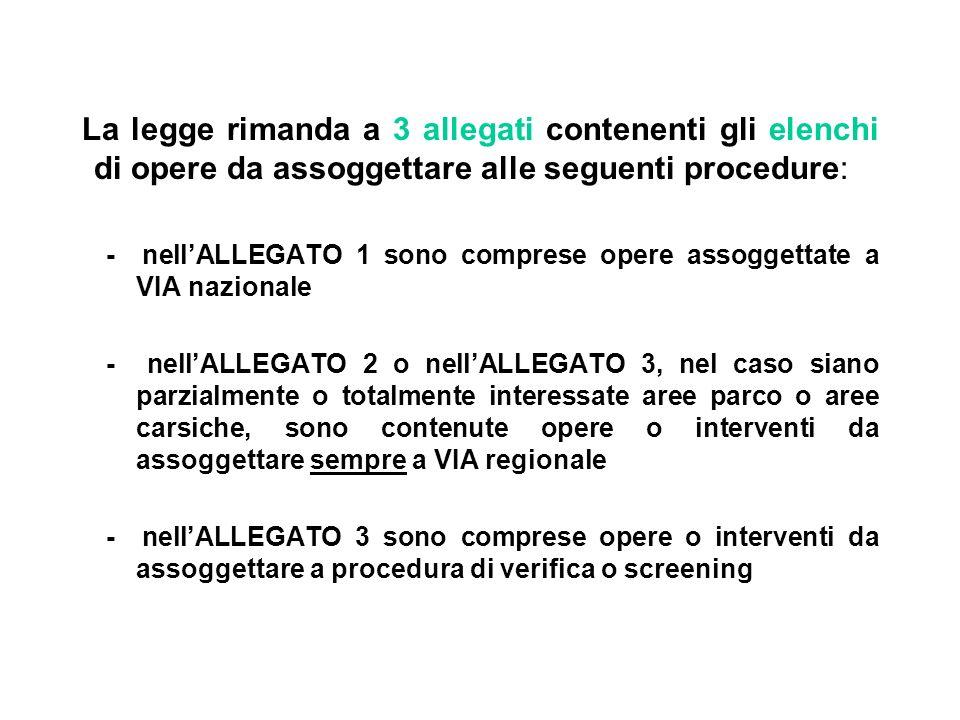 La legge rimanda a 3 allegati contenenti gli elenchi di opere da assoggettare alle seguenti procedure: - nellALLEGATO 1 sono comprese opere assoggetta
