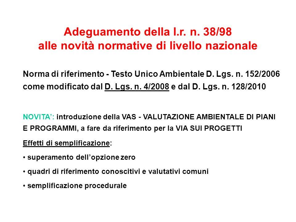 Norma di riferimento - Testo Unico Ambientale D. Lgs. n. 152/2006 come modificato dal D. Lgs. n. 4/2008 e dal D. Lgs. n. 128/2010 NOVITA: introduzione