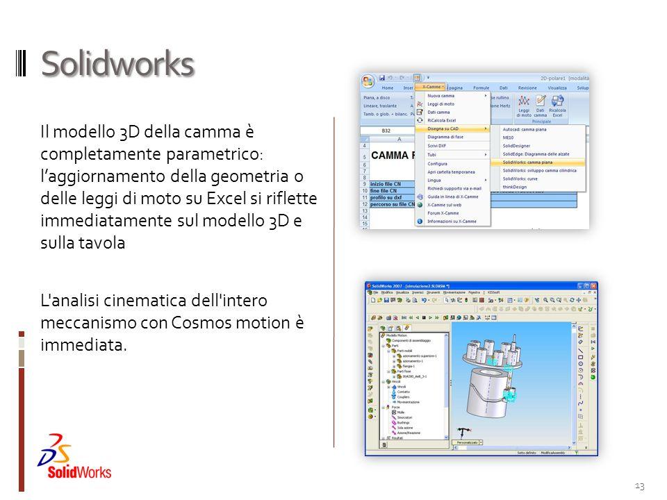 Solidworks Il modello 3D della camma è completamente parametrico: laggiornamento della geometria o delle leggi di moto su Excel si riflette immediatam
