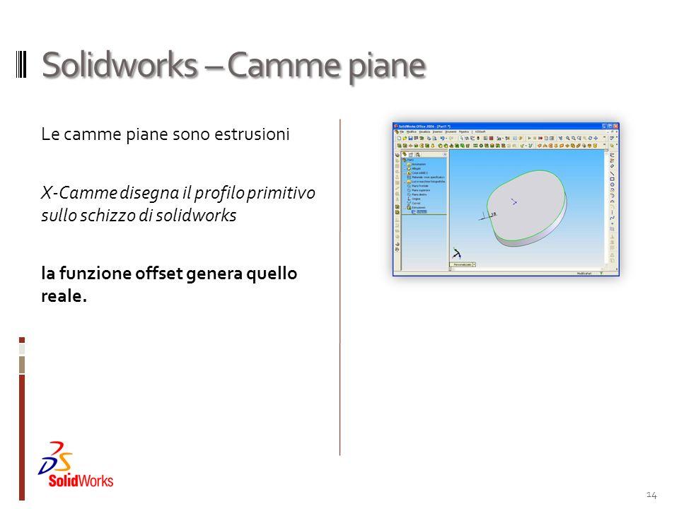 Solidworks – Camme piane Le camme piane sono estrusioni X-Camme disegna il profilo primitivo sullo schizzo di solidworks la funzione offset genera que