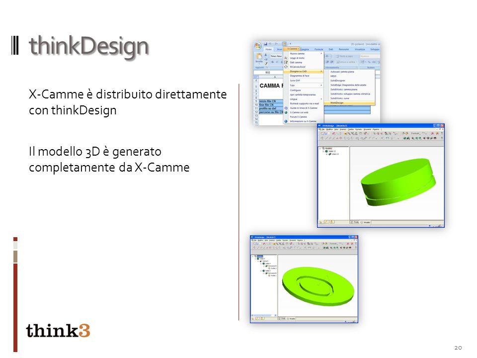 thinkDesign X-Camme è distribuito direttamente con thinkDesign Il modello 3D è generato completamente da X-Camme 20