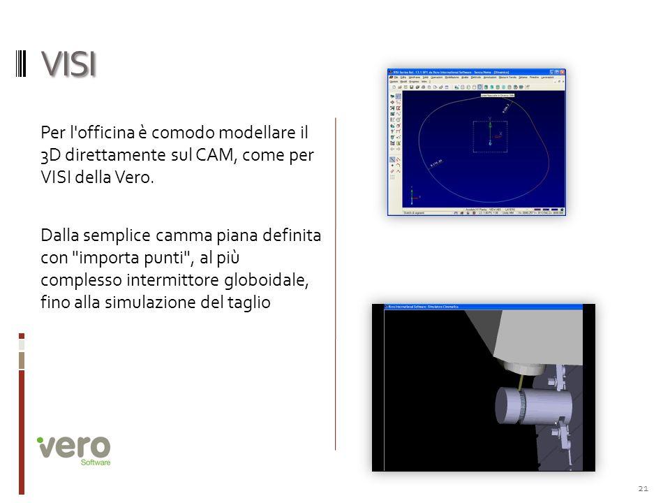 VISI Per l'officina è comodo modellare il 3D direttamente sul CAM, come per VISI della Vero. Dalla semplice camma piana definita con