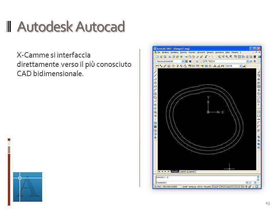 Autodesk Autocad X-Camme si interfaccia direttamente verso il più conosciuto CAD bidimensionale. 23