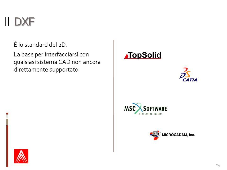 DXF È lo standard del 2D. La base per interfacciarsi con qualsiasi sistema CAD non ancora direttamente supportato 24