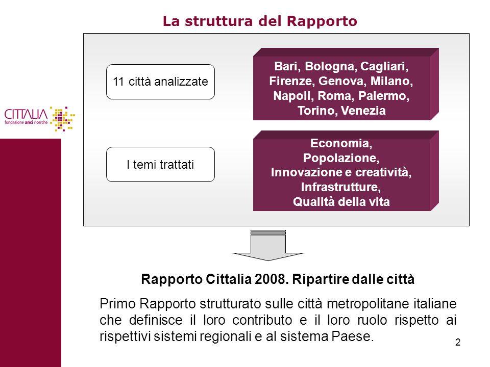 2 La struttura del Rapporto 11 città analizzate Bari, Bologna, Cagliari, Firenze, Genova, Milano, Napoli, Roma, Palermo, Torino, Venezia Economia, Pop