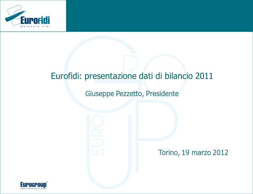 Eurofidi: presentazione dati di bilancio 2011 Giuseppe Pezzetto, Presidente Torino, 19 marzo 2012