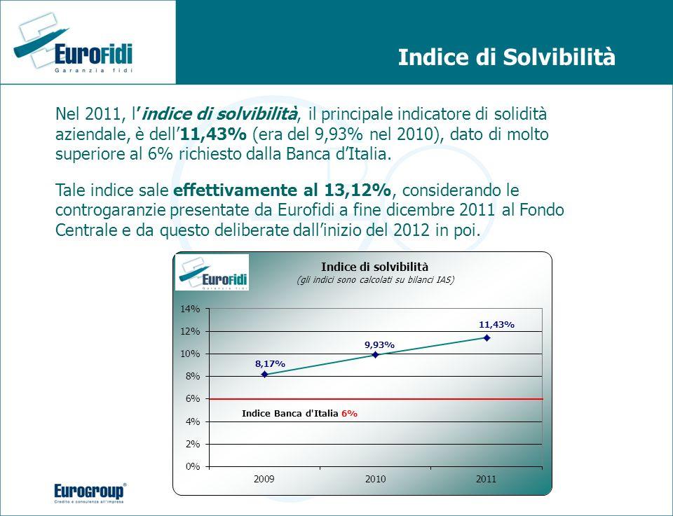Indice di Solvibilità Nel 2011, lindice di solvibilità, il principale indicatore di solidità aziendale, è dell11,43% (era del 9,93% nel 2010), dato di