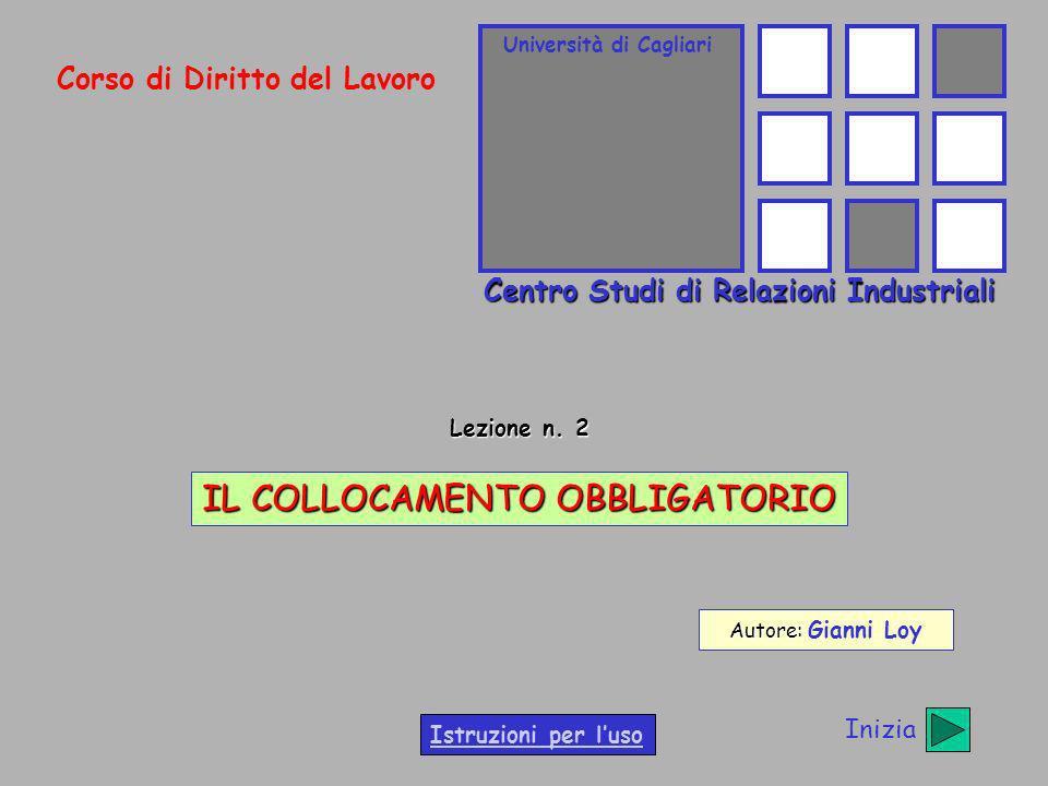 Università di Cagliari Centro Studi di Relazioni Industriali Corso di Diritto del Lavoro Lezione n. 2 IL COLLOCAMENTO OBBLIGATORIO Autore: Autore: Gia