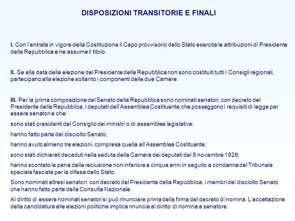 DISPOSIZIONI TRANSITORIE E FINALI I. Con lentrata in vigore della Costituzione il Capo provvisorio dello Stato esercita le attribuzioni di Presidente
