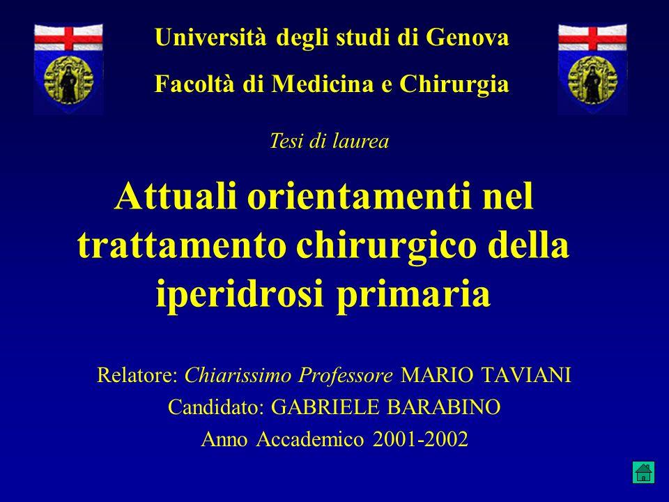 Attuali orientamenti nel trattamento chirurgico della iperidrosi primaria Relatore: Chiarissimo Professore MARIO TAVIANI Candidato: GABRIELE BARABINO