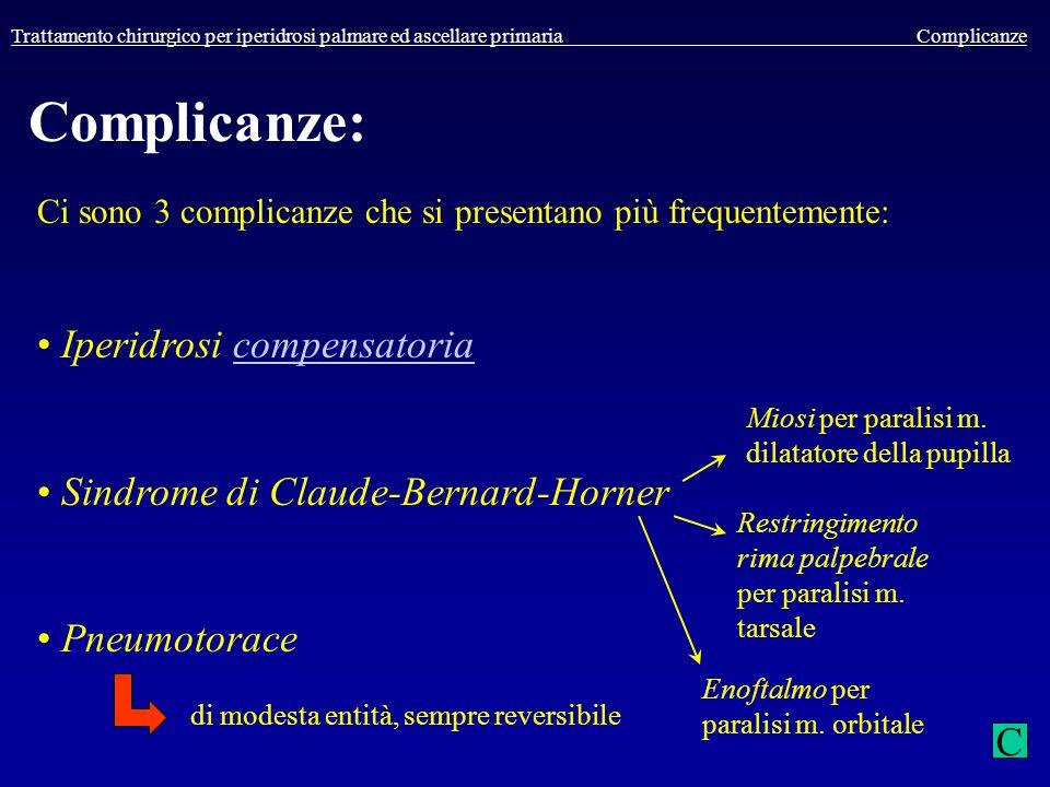 Trattamento chirurgico per iperidrosi palmare ed ascellare primaria Complicanze Complicanze: Ci sono 3 complicanze che si presentano più frequentement