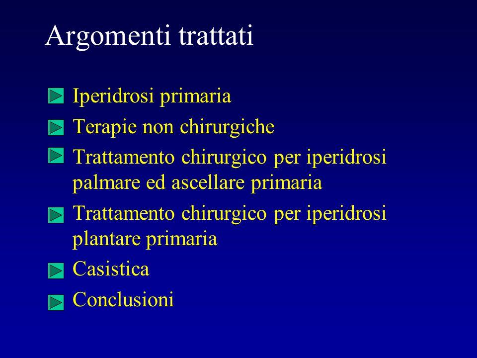 Argomenti trattati Iperidrosi primaria Terapie non chirurgiche Trattamento chirurgico per iperidrosi palmare ed ascellare primaria Trattamento chirurg