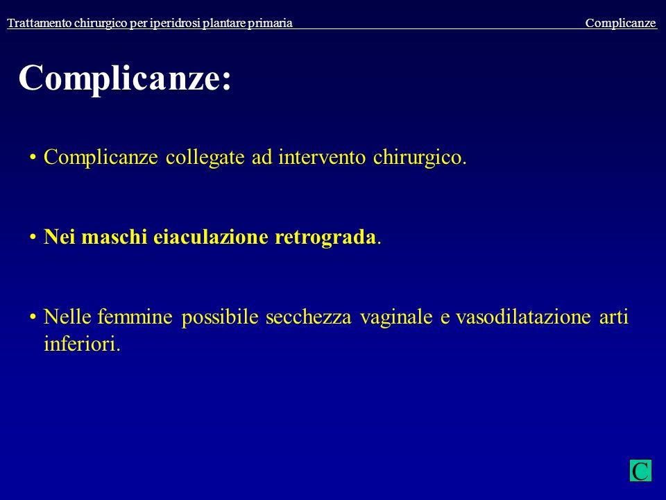 Trattamento chirurgico per iperidrosi plantare primaria Complicanze Complicanze: Complicanze collegate ad intervento chirurgico. Nei maschi eiaculazio