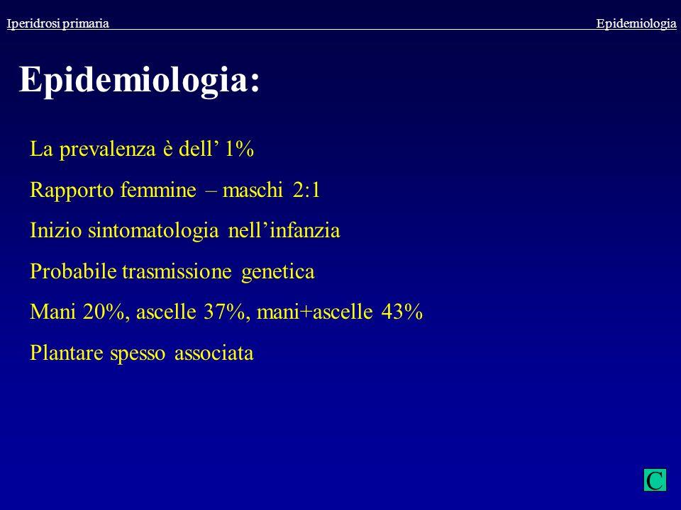 Iperidrosi primaria Epidemiologia Epidemiologia: La prevalenza è dell 1% Rapporto femmine – maschi 2:1 Inizio sintomatologia nellinfanzia Probabile tr